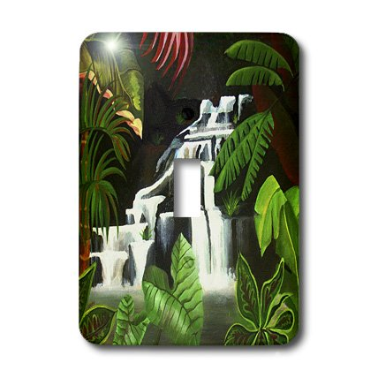 - 3dRose lsp_46726_1 Waterfall Wilderness Cascade, Fantasy, Forest, Green, Jungle, Landscape, River Single Toggle Switch