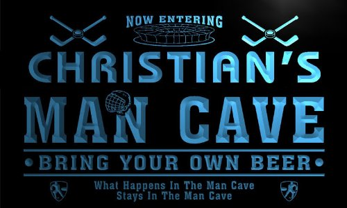 qe235-b Christian's Man Cave Hockey Bar Neon Sign by AdvPro Name