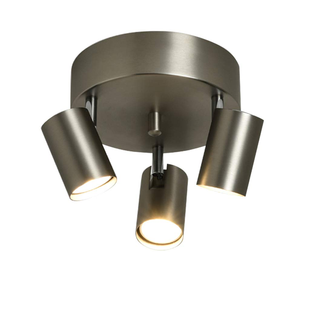 天井スポットライト 現代のラウンドプレート3ウェイウォールシーリングライト調節可能| 天井スポットライトスポットライトメタル廊下の寝室キッチン用のGU10   B07PQHMRXG
