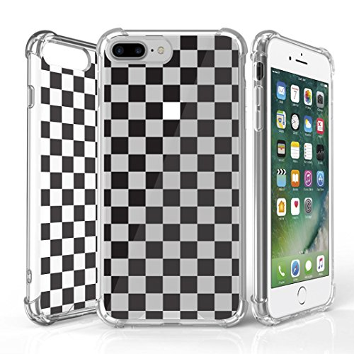 White Checkers Protector Case - iPhone 7 Plus Case, DuroCase AquaFlex 4 Corner Shockproof TPU Bumper w/ Hard Plastic Back Shield 2in1 Hybrid Case (Clear) For Apple iPhone 7Plus - (Black White Checker)