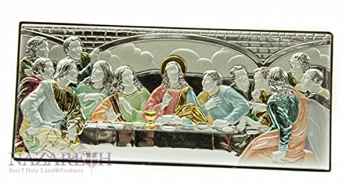 Colored Last Supper Of Jesus Silver Icon Wall picture Holy Land by Holy Land Gifts