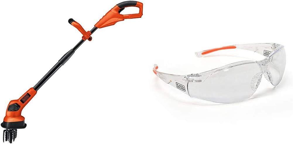 BLACK+DECKER 20V MAX Tiller, Tool Only with Safety Eyewear, Lightweight, Clear Lens (LGC120B & BD250-1C)