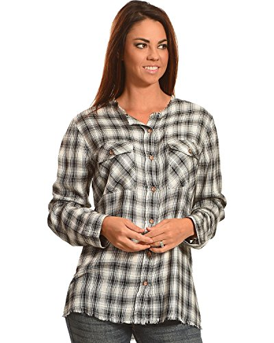 New Direction Sport Women's Plaid Split Back Western Shirt Black Small (New Directions Clothing)