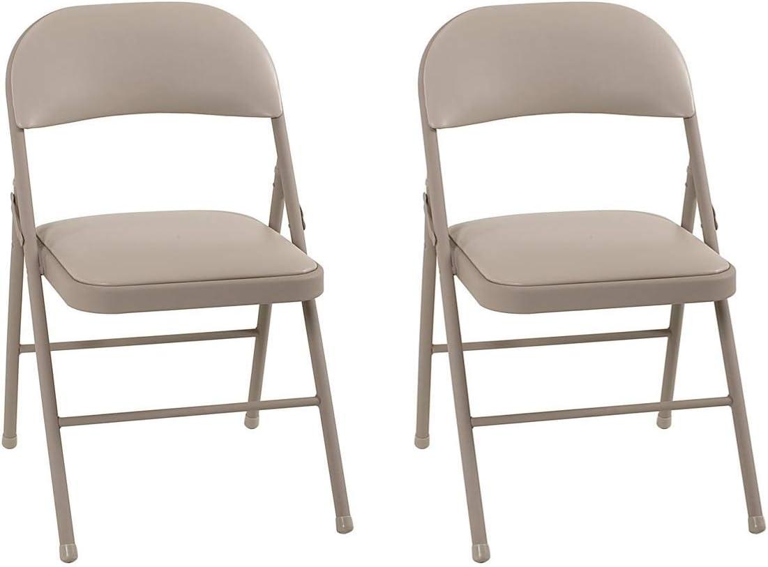 COSCO Vinyl, Antique Linen 2-Pack Folding Chairs,