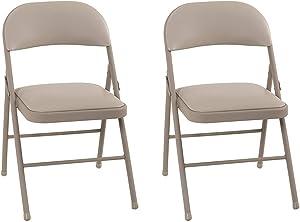 COSCO Vinyl, Antique Linen (2-Pack) Folding Chairs,