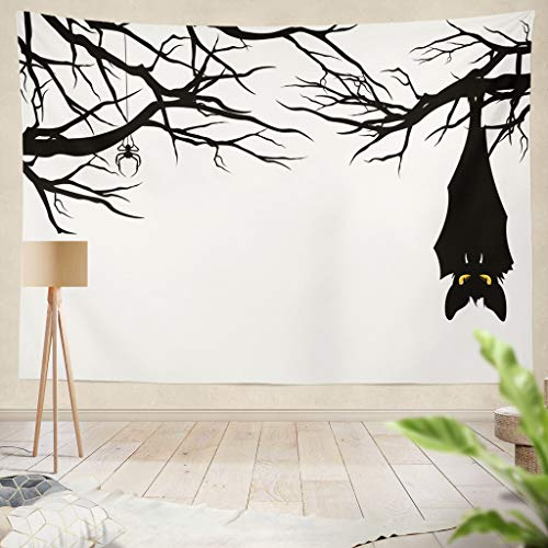threetothree Ethnic Psychedelic Tapestry Wall Hanging Halloween Theme Hanging Tree Branches Monster Spooky Halloween TreeLiving Room Bedroom Art Nature Home Decorations 50