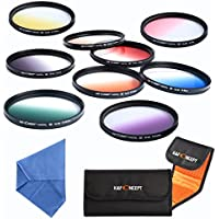 K&F Concept slim 9pcs 67mm Graduated Color Filter Set for CANON Rebel T5i T4i T3i T2i 8-135MM Zoom Lens Includes: Orange Blue Gray Red Purple Green Pink Brown Yellow Lens Filter Kit