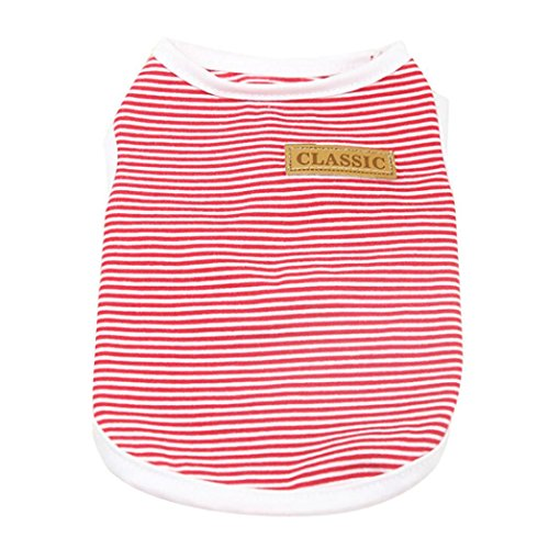 (Shubuy Pet Shirt, Dog Cat Clothes Puppy Classic Vest Striped T-shirt Pet Summer Apparel (L, Red))