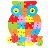 Yingealy Great Fun Gift Colorful Wooden Animal Number and Alphabet Jigsaw Puzzle Educational Toy for Kids(Owl)