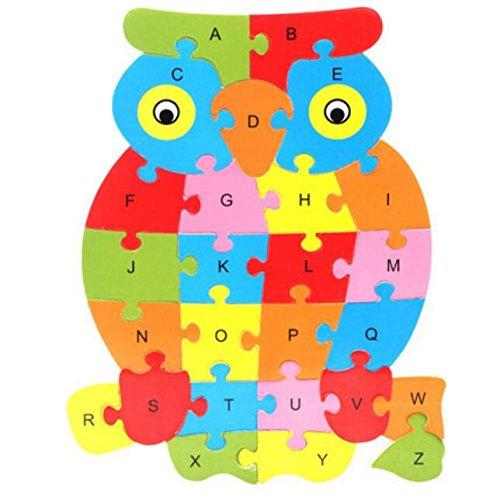 Un cadeau sincère Jouet éducatif en bois coloré numéro d'animal et puzzle alphabet pour enfants (chouette) BinSanda
