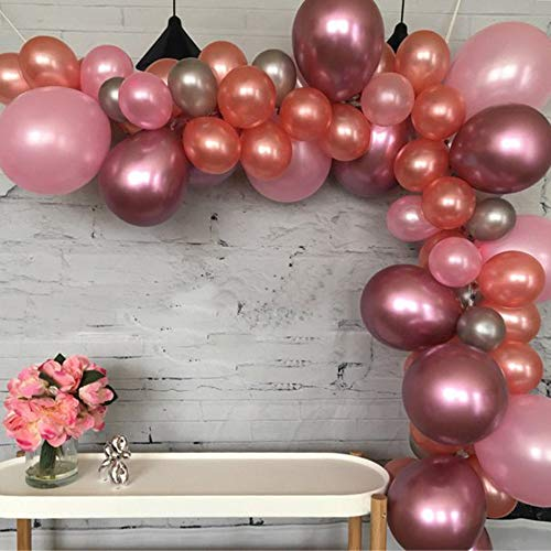 16 FT Rose Gold, pink & Red Metal Latex Balloons Arch & Garland Kit, 135 Pcs Balloons and Tools for Birthday,Baby Shower,Party,Graduation Party Decorations