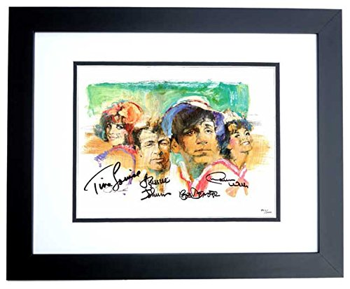 Gilligan's Island Signed - Autographed Lithograph 11x14 inch Photo BLACK CUSTOM FRAME by Tina Louise, Russell Johnson, Bob Denver, and Dawn Wells ()