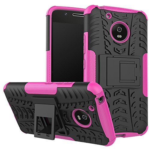 hockproof Hybrid Slim Dual Layer Rugged Rubber Hybrid Hard/Soft Impact Armor Defender Full Body Protective Case Cover with Kickstand for Moto G5 2017 Model ()