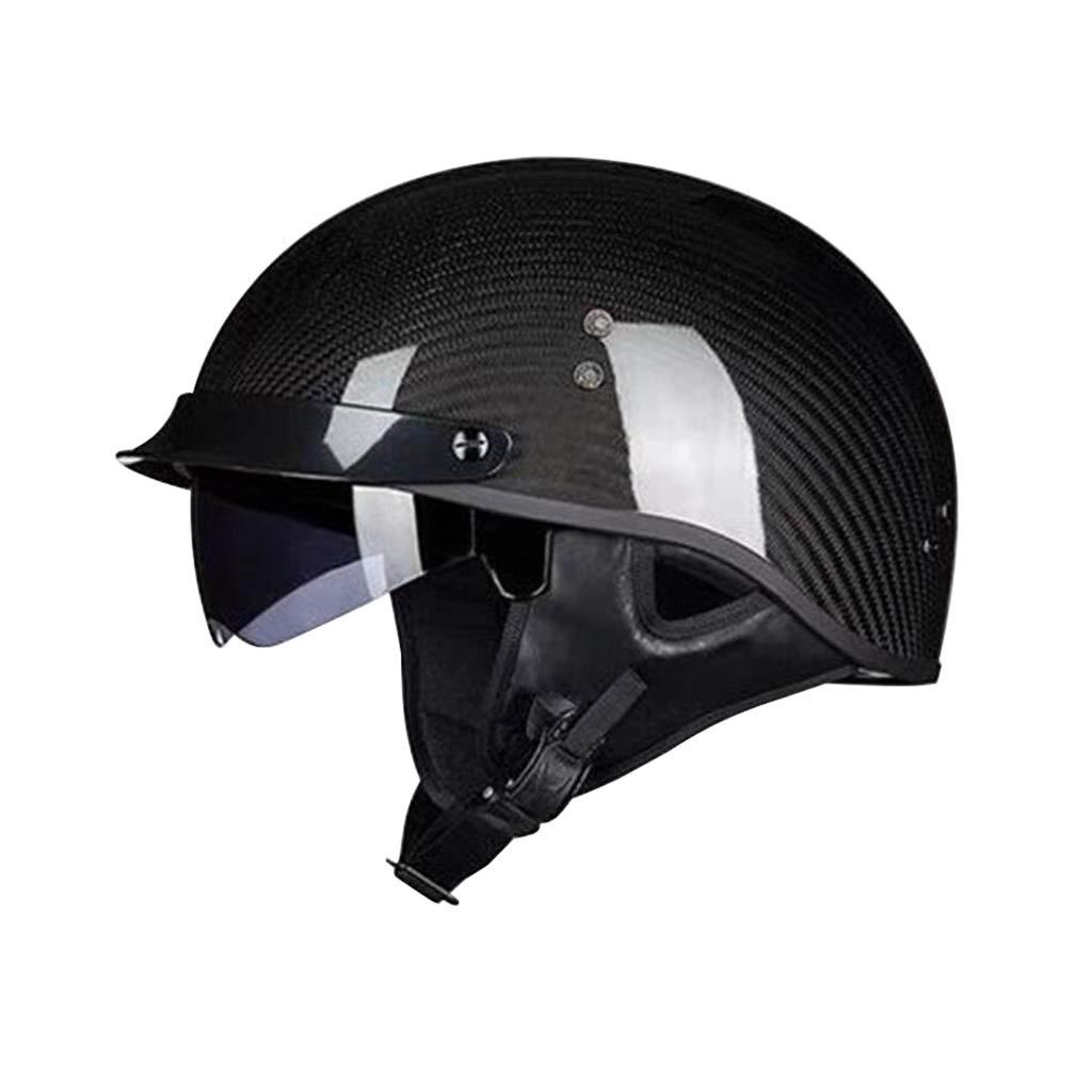ヘルメット オートバイヘルメット、カーボンファイバーレトロオートサイクルヘルメット男性女性オールラウンドサイクリングヘルメットモト電気自動車ハーフヘルメット Medium Bright black B07PZVFXXL