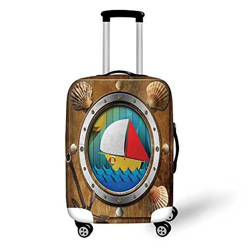 Travel Luggage Cover Suitcase Protector,Anchor,Metallic Porthole with Bolts Seashells Rusty Anchor and Boat Journey Voyage Activity,Multicolor,for Travel