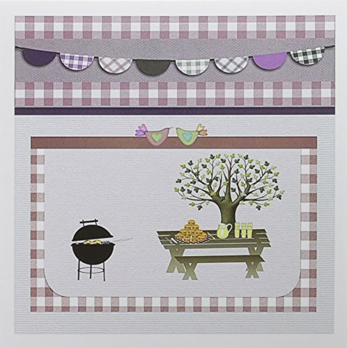 3dRose Barbeque Pit, Picnic Table with Platter and Lemon aid, Dusty Pink Gingham - Greeting Cards, 6 x 6 inches, set of 12 (gc_182718_2)