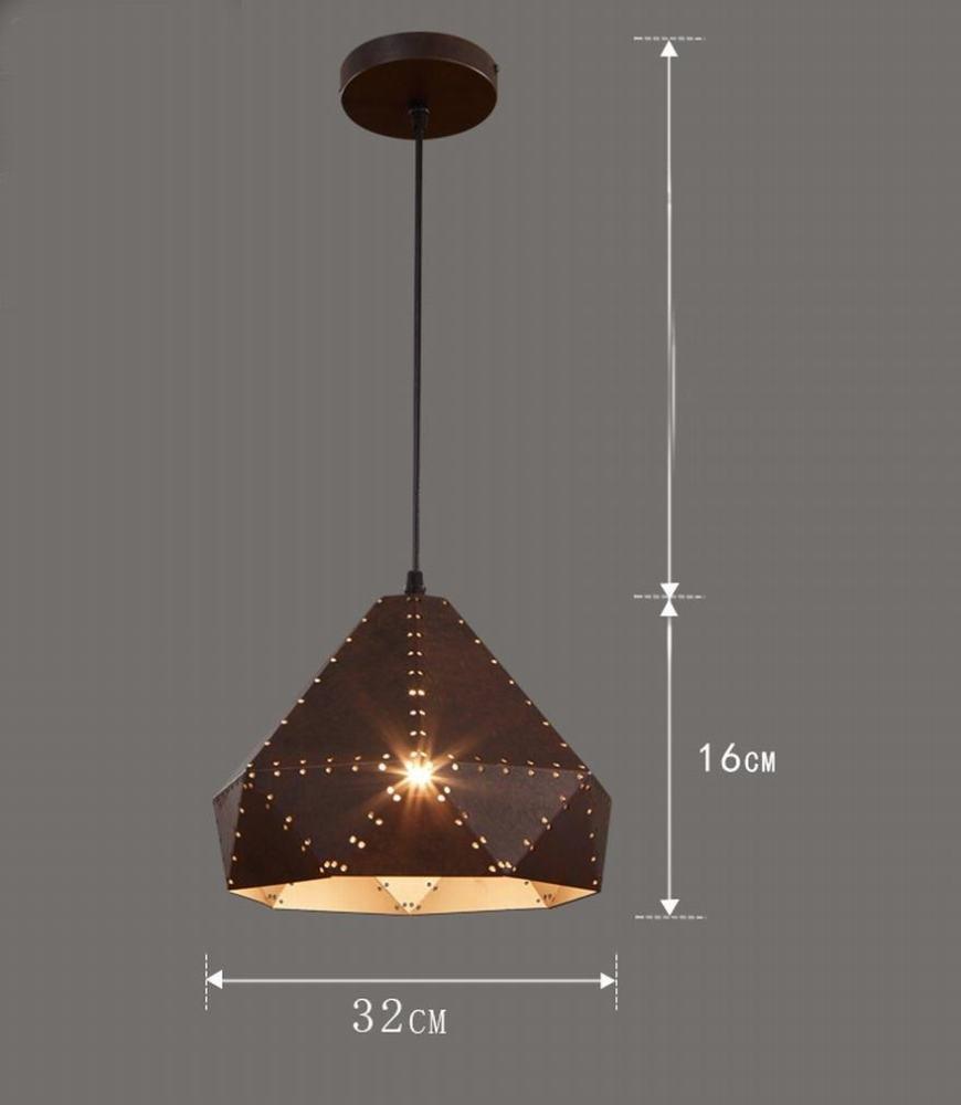 DEN Vintage industrial wind bar table loft personality creative restaurant nostalgic single head lid chandelier,A,Single head