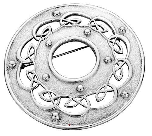 Plaid Broche Fabriqué en argent sterling ronde avec Open celtique Scrollwork - 60mm
