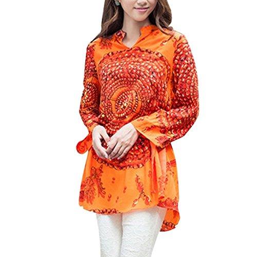 Retro Beads Print Plus Size Chiffon Dress M Orange