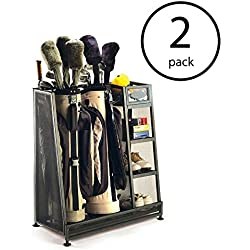Suncast Metal Complete Golf Bag Organizer for Garage with 3 Shelves and Deep Bin (2 Pack)