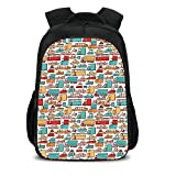 15.7'' School Backpack,Cars,Children Drawing of Many Vehicles Motorbikes Caravans Trucks Taxis Buses Print Decorative,Aqua Red Orange,for Teenagers Girls Boys