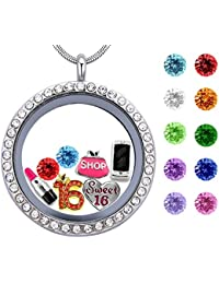 Sweet Sixteen Girl Birthday Gift,30mm Floating Charm Living Memory Locket Birthstone Pendant Necklace