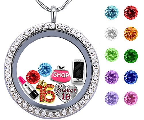 Best Girl's Birthday Gift, Sweet Sixteen Floating Living Memory Locket with Charm, Birthstone Necklace