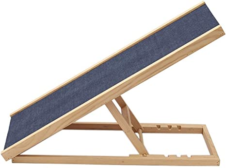 Queiting 100 x 40 CM Freestanding Pet Puppy Ramp Adjustable Heights Safety Independent Dog Ramp With Non-Slip Carpet Wooden Pet Ladder Folding Adjustable Ramp