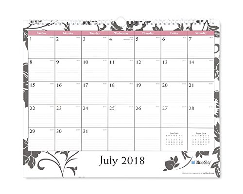 Wall Academic Calendar (Blue Sky 2018-2019 Academic Year Monthly Wall Calendar, Twin Wire Binding, Ruled Blocks, 15