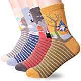 Famous Japanese Animation Print Crew Socks, 4 Pairs, One Size