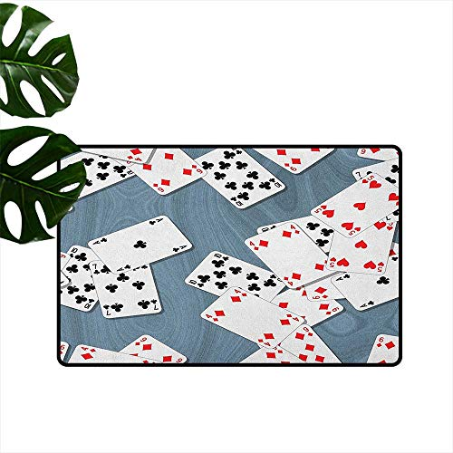 ParadiseDecor Casino,Personalized Door mats Abstract Background with Playing Cards Metropolitan Tourist Attractions 36
