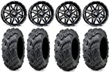 Bundle - 9 Items: MSA Black Vibe 14'' ATV Wheels 28'' Zilla Tires [4x110 Bolt Pattern 10mmx1.25 Lug Kit]
