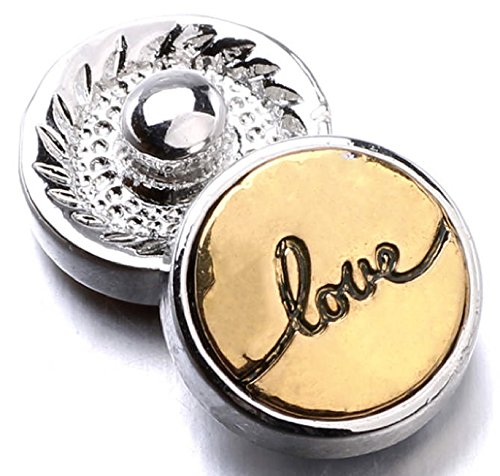 My Prime Gifts Interchangeable Mini 12mm Snap Jewelry Gold Love Script