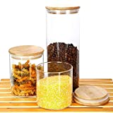 Fecihor Food Storage Glass Jar with Silica Gel Ring Seal Airtight Bamboo Lid, 3 Pack Set (18/25/51 OZ) Kitchen Container for Food Storage,Snack,Tea,Coffee, Sugar, Salt, Spice.