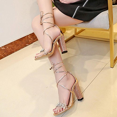 VEMOW High Heels for Women, for Work Utility Footwear Gladiator Closed Toe Platform Sparkly Roman Sandals Party Club Office Court Shoes, Fish Mouth Ankle Block Party Open Toe Gold