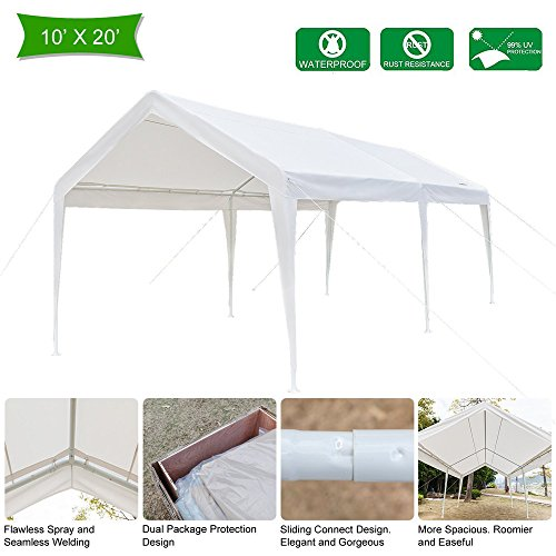 Cheap VINGLI 10' x 20' Heavy Duty Outdoor Domain Carport,Car Park Sun Shelter, 250G Polyester Fabric Cover,Upgraded Steady Steel Panels,Wedding Party Event Tent