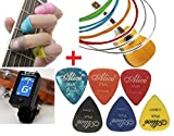 amiciKart® Complete Combo for Guitar Beginner - Guitar Strings, Silicone Finger Guards, Guitar Picks and Digital LCD Display guitar Tuner