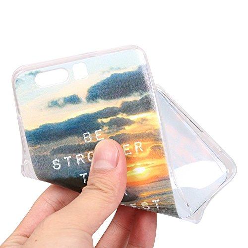 Funda Honor 9,EUDTH Suave TPU Gel Funda Case Delgado Silicona Fundas Carcasa Espalda para Huawei Honor 9 (5.15 Pulgadas) Barcos Salida del sol y el mar