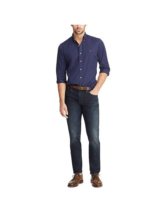 Polo Ralph Lauren Camisa Lino Azul Hombre M Marino: Amazon.es ...