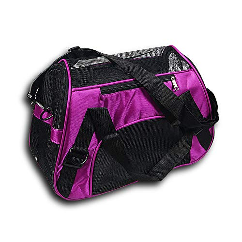 Purple S (44X22X28CM) Purple S (44X22X28CM) YSYPET Pet Outdoor Portable Folding Lightweight Soft-Side Fabric Travel Carrier Bag Crate Package Breathable Seat Tote Cat puppy, purple S, (44X22X28CM)