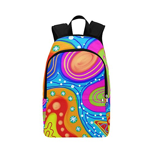Abstract Pattern Painting Shapes Colours Colors Custom Outdoor Shoulders Bag Fabric Backpack Multipurpose Daypacks Adult