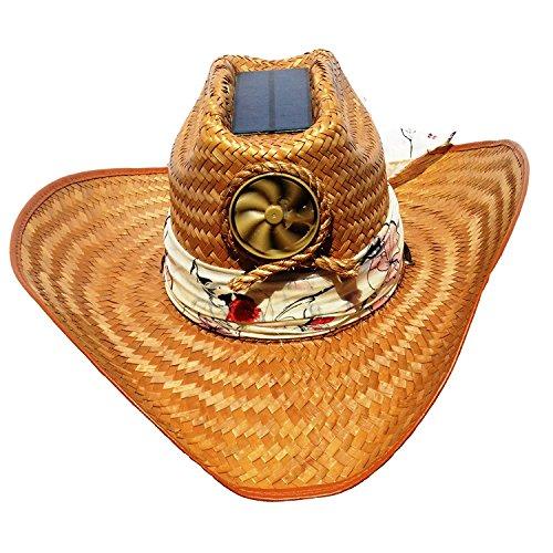 Cooling Sun Straw Solar Ladys Palm Leaf Cowgirl Hat W  Interchangable Scarf Meduim