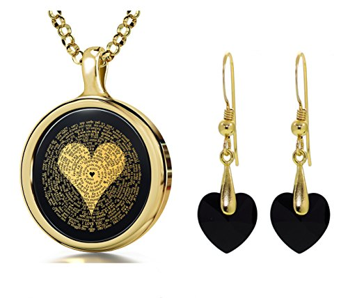 Gold Plated I Love You Necklace in 120 Languages and Black Crystal Heart Earrings Jewellery Set, 18'' by NanoStyle