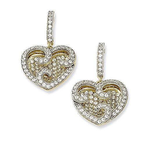 Q Gold Sterling Silver and Vermeil CZ Brilliant Embers Fancy Heart Earrings ()