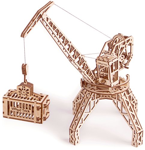 Wood Trick TOWER CRANE Building Mechanical Models 3D Wooden Puzzles DIY Toy Assembly Gears Constructor Kits for Kids, Teens and ()
