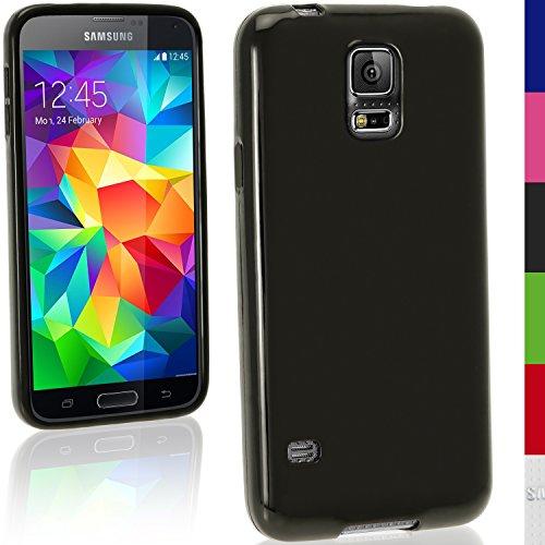 iGadgitz Solid Black Glossy TPU Gel Case for Samsung Galaxy S5 SV MINI SM-G800F + Screen Protector