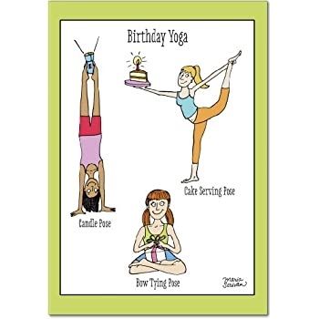 Amazon.com : Midlife Yoga Poses - Birthday Card with ...