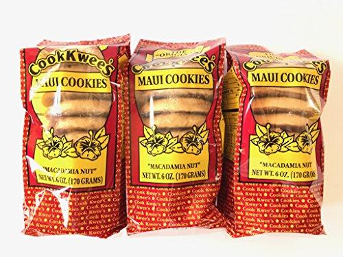 Hawaiian Macadamia Nut Cookies (The Original Maui CookKwees Hawaii Cookies 3 Pack- 6 oz. Each (Macadamia Nut))