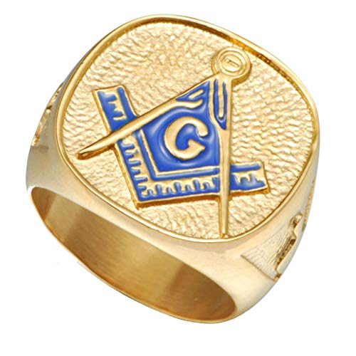 Ring Enamel Blue Masonic - Jude Jewelers 18K Gold Plated Stainless Steel Masonic Ring (12)