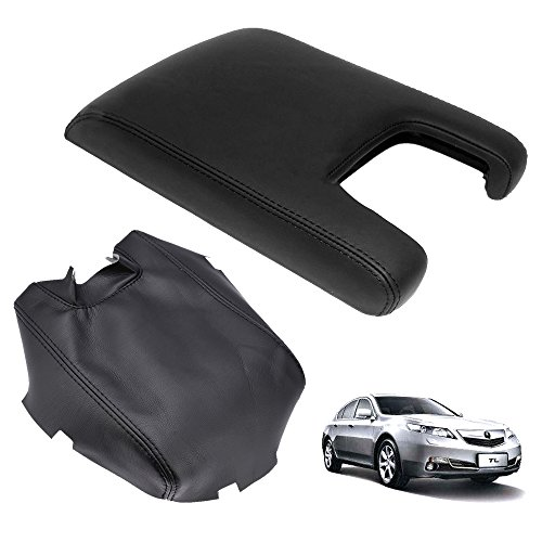 QKPARTS New Leather Center Console Lid Armrest Cover Skin For 2009-2012 Acura TL Black (Leather Only)
